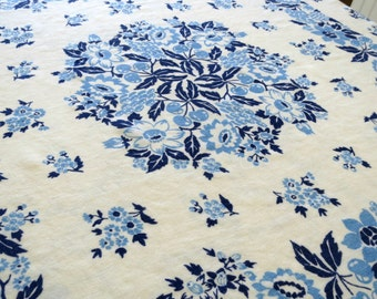 Blue and White Tablecloth, Soft Linen, Square Tablecloth, 48 x 46, Vintage Table Linens, Cottage Chic, Vintage Linens by TheSweetBasil