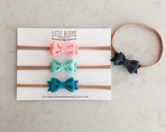 Tiny Felt Bow Headband -  Pick Your Colors - newborn - baby - toddler