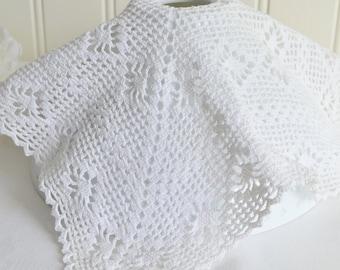 Crochet lamp cover , vintage Swedish seventies home decor , white crochet
