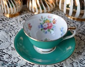 Aynsley Footed Green Floral Teacup and Saucer Set, English Bone China Teacup, Wedding Gift, ca. 1939