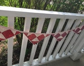 Primitive Vintage Quilt Pennant~ hanging decor~ vintage quilt~ red, maroon white quilt pieces~Flag bunting~Summer- Fourth of July- Americana