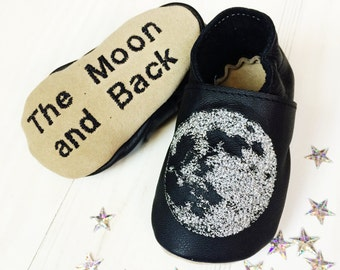 Moon Baby Shoes - I love you to the moon and back - personalized baby gift - astrology gift - new baby gift - baby shoes leather