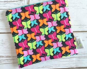 Reusable Snack Bag ~ Sandwich Size ~ Reusable Lunch Bag ~ Eco Friendly ~ Water Resistant ~ Zipper Pouch in Funfair Flutterly Brite