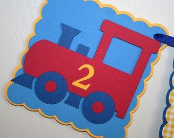 Train, Happy Birthday Banner, Boy, Blue,Red,Yellow,  Banner.
