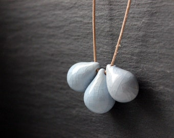 Handmade ceramic drop beads - light blue pendant necklace