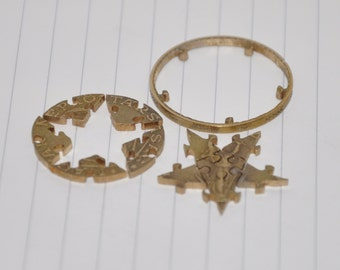 Pentagram. Bronze. Doubleside coin cut puzzle jigsaw. 12 pcs.  10 forints Hungarian coin
