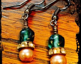 Sea blue, Earrings, Roman glass, beads, Pearl earrings with rhinestones, Boho, Gypsy Style, By: Kari Wolf Designs