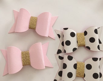 6 pc Pink and Gold Paper Bows | Polka Dots Bow | Pink and Gold Birthday | First Birthday Decor | DIY Paper Bows | Pink Bow Cupcake topper