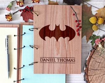 Comic Superhero Wooden notebook - Batman notebook - Custom Notebook - Personalized Engraved