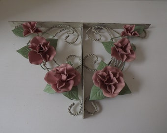 Pair Of Floral White Wire Shelf Braclets, Pink Roses With Green Leaves, L Brackets, Wall Decor, Shabby Chic Style, Circa 1970's