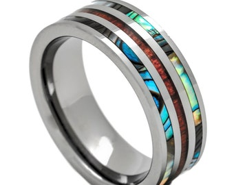 Tungsten Ring with Inlay Hawaiian Koa Wood and Abalone 8mm Comfort Fit Size 6 to 15