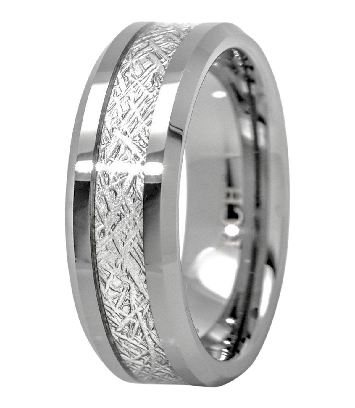 Meteorite Ring Tungsten Carbide For Men 8mm Comfort Fit