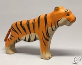 Toy Tiger wood colourful with black stripes standing  Size 17,0x 11,0 x 2,5 cm (bxhxs)  approx. 106 gr.