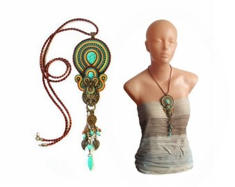 """Soutache pendant  necklace - bold and unusual Nymeria 3 """"Winter is coming"""" Stark Game of Thrones - Fantasy jewelry"""