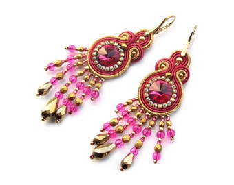 Soutache earrings - classy and elegant, exclusive hand made jewelry - Queen Ann Fuchsia 2