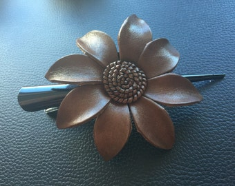 Brown leather flower hair clip