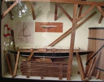 vintage nautical boat house, boat making shadow box, pond yacht, Summer seaside decor