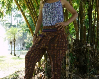 Thai Tribe pants, Cotton,  Brown with chinese letter print