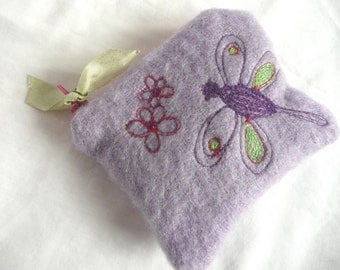 Embroidered wool purse - lilac wool coin purse - hand dyed wool purse - embroidered coin purse - embroidered mini purse