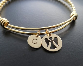 Personalized Guardian Angel Gold Charm Bangle Bracelet Angel charm Bracelet Angel Jewelry bangle bracelet with charms