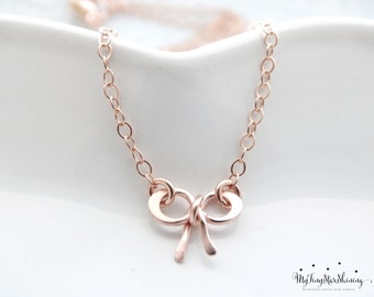 Bow Necklace Rose Gold necklace Bridesmaid necklace gold bow necklace Rose gold charm necklace Rose Gold Bow necklace 14K Rose Gold filled