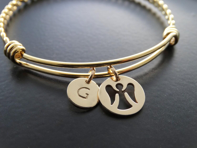 personalized guardian angel gold charm bangle bracelet angel. Black Bedroom Furniture Sets. Home Design Ideas
