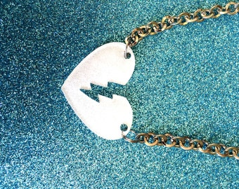 White Pearlised Acrylic Heart Pendant  Necklace on 20 inch chain-Ladies Jewellery-Gifts for women-Handmade Necklace-Handmade Gifts for her
