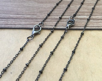 30pcs 20inches gunmetal color Clamp bead  chain necklace with lobster clasp 2mmX3mm