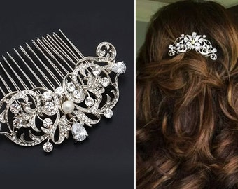 Bridal Hair Comb Wedding Hair Comb Swarovski Pearl Rhinestone Wedding Jewelry Bridal Jewelry Clear Sparkly Pearl Crystal Vintage G07