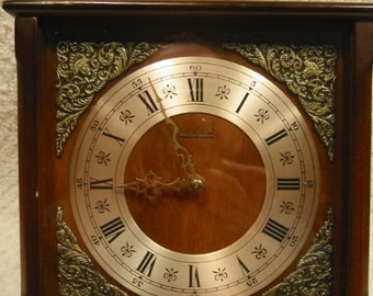 """vintage  rustic  wood  Elgin clock - with chimes - walnut finish - made in Germany - mid-century - 8"""" high x 7 1/2"""" wide x 4 1/4"""" deep"""