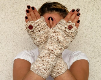 Button and flowers, fingerless glove  -    Fingerless Gloves  Gloves & Gift Ideas, For Her, Winter Accessories, Xmas Gift