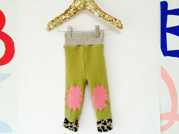 FALL 0-3 Months Kids Cashmere Leggings Knee Patch Toddler Trousers Pants in Upcycled Cashmere Pattern Unisex