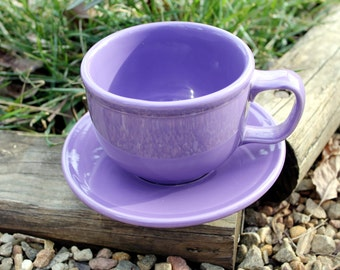 Lilac FiestaWare, Vintage, Fiesta Ware, Purple, Large Soup Mug and Saucer Set, Retired Color, Rare