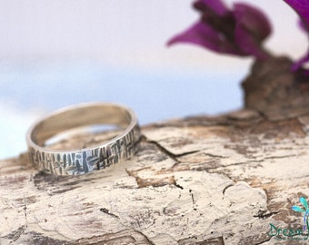 Textured and Oxidized Sterling Silver Ring