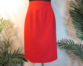 vintage skirt , red knee length ,size 16  winter skirt , Holiday skirt , new condition , machine washable, ladies pencil skirt