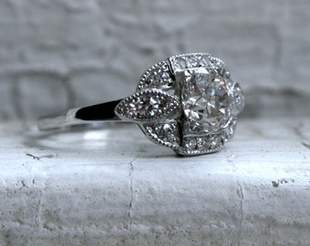 Fantastic Vintage Platinum Diamond Engagement Ring - 1.22ct.