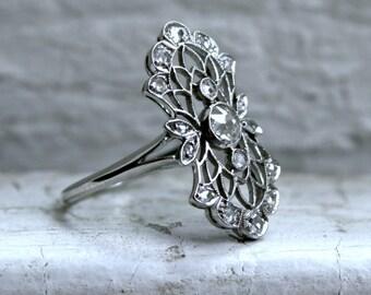 RESERVED - Vintage Filigree Platinum Diamond Engagement Ring - 0.68ct.
