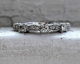 Scalloped Vintage 14K White Gold Diamond Wedding Band - 0.50ct.