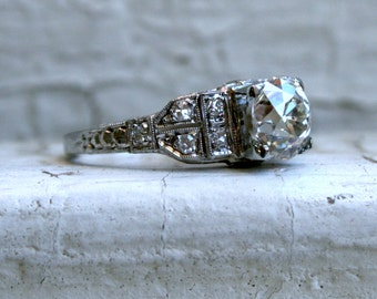 RESERVED - Antique 18K White Gold Diamond Ring Engagement Ring - 1.70ct.