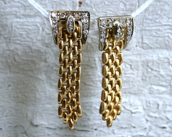 Awesome Retro Vintage 14K Yellow Gold Diamond Buckle Earrings.