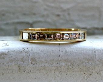 Vintage Channel 18K Yellow Gold Asscher Diamond Wedding Band - 0.64ct