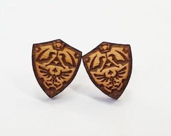 Zelda Hyrule Link Shield Earrings   Laser Cut Jewelry   Hypoallergenic Studs   Wood Earrings