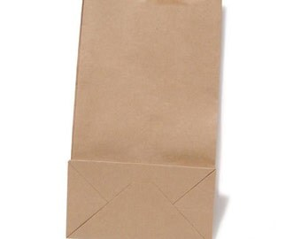 """40 Natural Kraft Paper Bags 4.25"""" x 2.75"""" x 8.5"""" Gusseted Bags That Stand Up"""