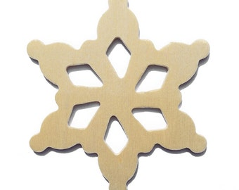 25 - 3.5 Inch Natural Unfinished Wood Snowflakes Ready to Embellish for Holiday Crafts