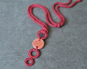 Ceramic necklace / coral necklace / ceramic pendant / Crochet and ceramic / Ceramic jewelry / Textile necklace / Modern necklace / Aliquid