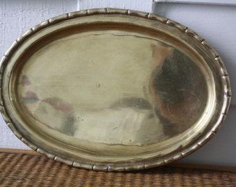brass tray, brass faux bamboo tray, oval brass tray, vanity tray, Hollywood Regency, Chinoiserie