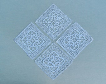 Lot of 4 square lace small doilies, vintage Chinese bobbin lace doilies