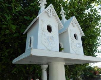 Garden Birdhouse - Decorative Birdhouse - Upcycled Birdhouse - Shabby Birdhouse - Pedestal Birdhouse