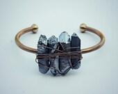 silver titanium quartz cuff bracelet, crystal bracelet, quartz jewelry, crystal jewelry, gold cuff, stone cuff