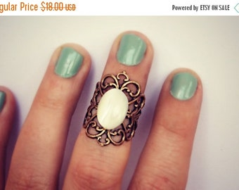 FALL SALE pearl knuckle ring, midi ring, above the knuckle ring, pearl ring, antique brass ring, unique ring